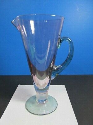 "Tiffin Glass Large Carafe/Pitcher,Footed, Pink, Blue & Frosted Decor 11""Tall"