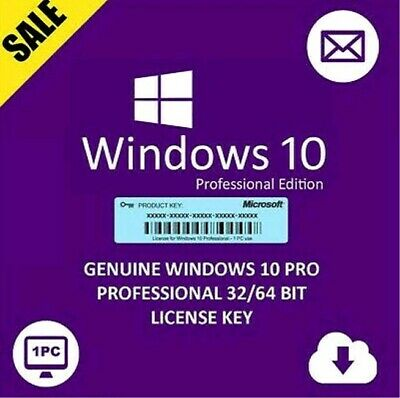 INSTANT Microsoft Windows 10 Professional License Key 32/64 Retail Worldwide