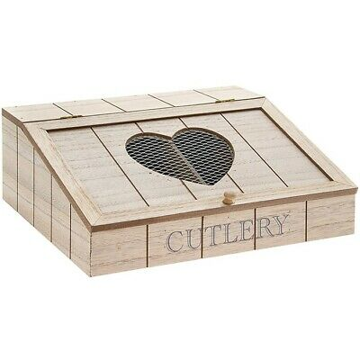 Country Hearts Wooden Cutlery Box With Mesh Wire Heart Cutlery Storage Box