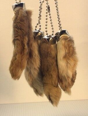 4 x Real Rabbit Foot Lucky Keychain NATURAL BROWN Vraie Patte de Lapin Chanceuse