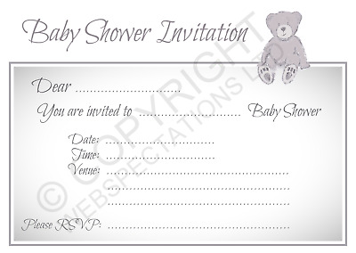 1-100 PACK OF BABY SHOWER PARTY INVITATIONS Grey Girls Boys Invites & Envelopes