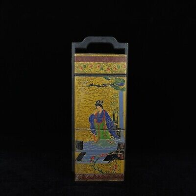"16"" Chinese old Antique Lacquer ware wooden handcarved Beauty foot box"