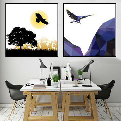 Nordic Flying Eagle  Art Canvas Oil Painting Poster Living Room Home Wall Decor