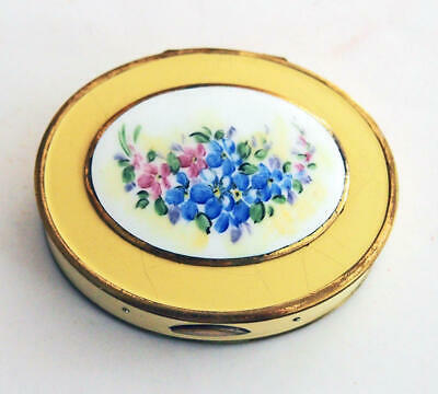 Vintage Enamel Compact hand painted Flowers w/ rouge & powder compartments