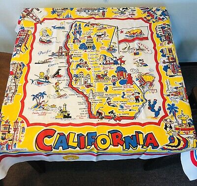 Vintage California State Souvenir Tablecloth Mid Century New Old Stock With Tag