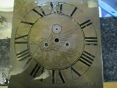 Welsh Dragon Engraved  Longcase Clock Dial 8 And 3/4 Inches