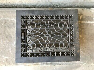 "Antique Cast Iron Wall, Floor Grate Vent - Black -(10"" x 12"")  (#2)"