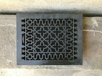 "Antique Cast Iron Wall, Floor Grate Vent - Black - (11"" x 14"")  (#5)"
