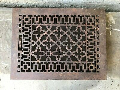 "Antique Cast Iron Wall, Floor Grate Vent - Black - (12"" x 16"") (#9)"