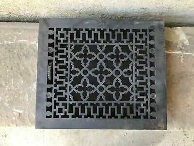 "Antique Cast Iron Wall, Floor Grate Vent - Black - (12"" x 14"") (#8)"