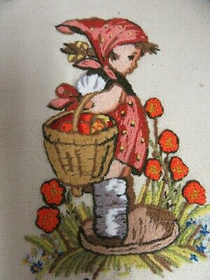 Finished Crewel Embroidery Hummel Peasant Girl Child Completed Vintage 1975
