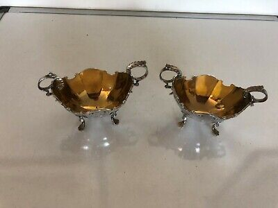 Lovely Pair Of Two Handled Silver Salts Boat Shaped On 4 Feet (Glasgow 1896)