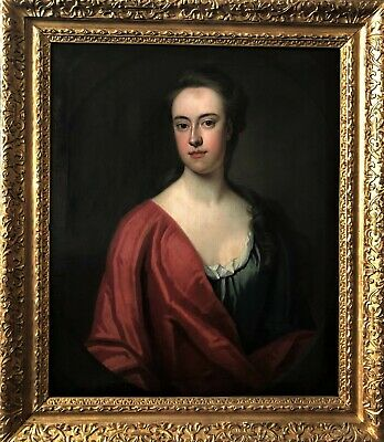 Magnificent Oil On Canvas Portrait Painting Of A Young Lady Circa 1720 - Kneller