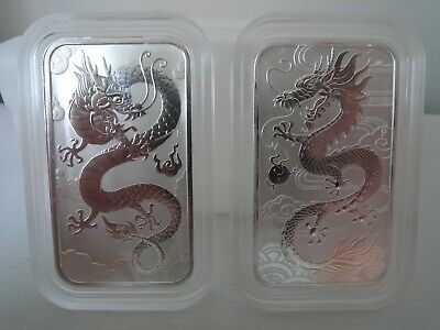 2018 + 2019 Lucky Dragon 1oz silver bullion bars in genuine Perth Mint capsules