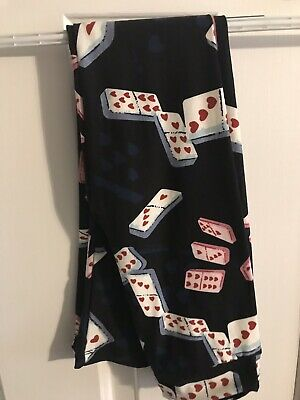 NWOT LuLaRoe Kids Leggings L/XL Black Background Heart Dominoes