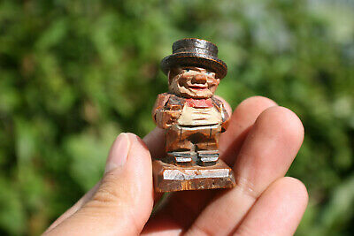 """Vintage Wooden Carved Miniature """"Churchill"""" Figure"""