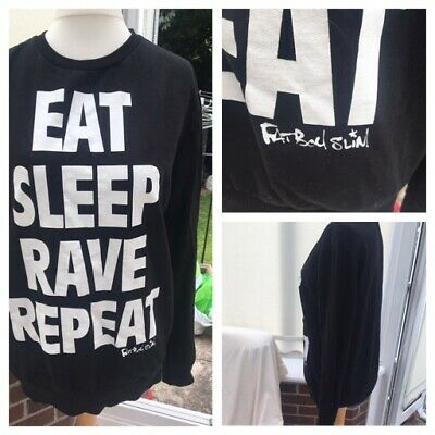 Black /'EAT SLEEP RAVE REPEAT/' Fat Boy Slim Ministry Of Sound design T Shirt