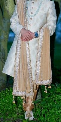 Men's/Groom's Wedding Indian Designer Ivory and Gold Sherwani Outfit