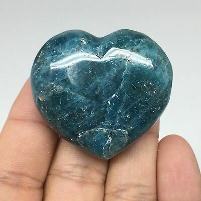 55.7g, 38mm x 41mm x 20mm, Natural Small Blue Apatite Heart Reiki Energy, B1518