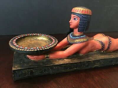 """signed 10"""" 1999 VERONESE EGYPTIAN NUDE STATUE CLEOPATRA OFFERING MULTICOLOR"""