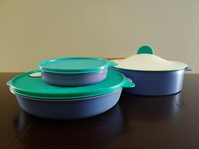Tupperware Lot 3 Pc Steamer Sm And LG 3 Divided Dishes Purple Green