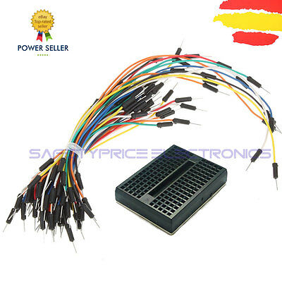 Mini Breadboard 170 Points Black + Pack 65 Cable Jumper Male Arduino Pic Wire