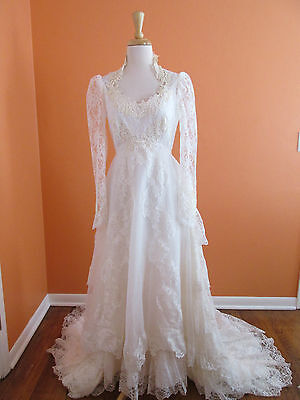 Vintage Victorian Tiered Lace Long Sleeve Boho Country Wedding Dress Gown