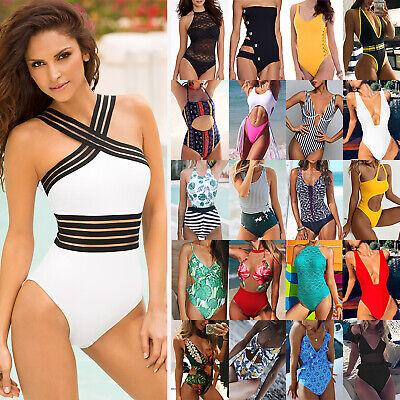 Womens One-Piece Monokini Swimsuit Bikini Padded Swimwear Beachwear Bathing Suit