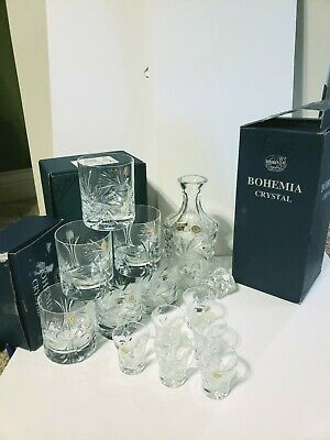 Vintage Czech Bohemian Full Lead Crystal Whiskey Decanter 6 Glass Set New in Box
