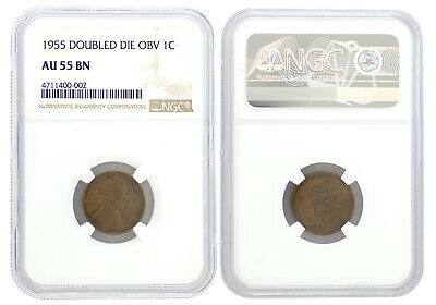 1955 Double Die Obverse Wheat Penny Cent 1c NGC AU-55BN Certified Key Date 0002