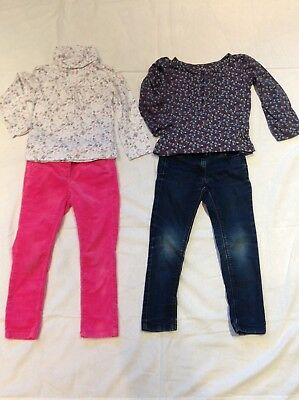 GIRLS Next pink TROUSERS & blue SKINNY JEANS & 2x TOPS by Vertbaudet AGE 5 YEARS