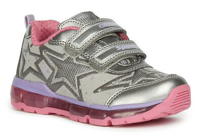 Geox J Android G B Girls DK Silver/Fuchsia Light Up Trainers - 100% Positive Rev