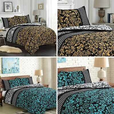 100% Egyptian Cotton Printed Reversible Duvet Cover Sets/Quilt Set ALL Sizes