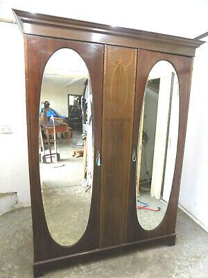 antique,mahogany,edwardian,inlaid,double,wardrobe,oval,mirrored doors,breakdown