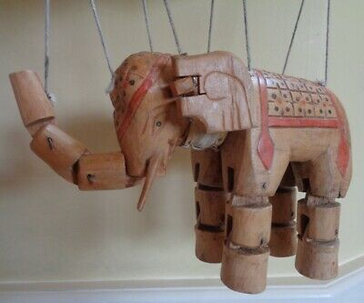 Vintage/antique Indian or Burmese Wooden Hand-Carved Elephant Puppet Marionette