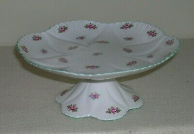 Shelley Bone China Cake Plate Stand Dish Compote Rosebud Made in England