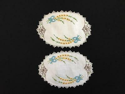 PAIR OF EMBROIDERED DOYLEYS c1940's