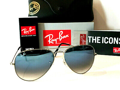 Ray-Ban Aviator Rayban Gradient Blue Lens Silver Frame Rb3025 Size 58 Sunglasses