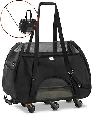 """USED FOR TESTING """"BLACK WHEELED PET CARRIER"""" 40% OFF FREE SHIPPING 23x15x11"""