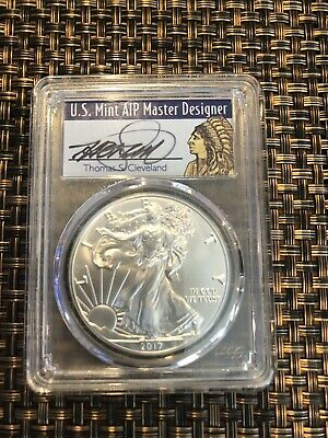 2017 Silver Eagle Pcgs Ms70 Cleveland Signed First Day Of Issue Fdi Native Chief