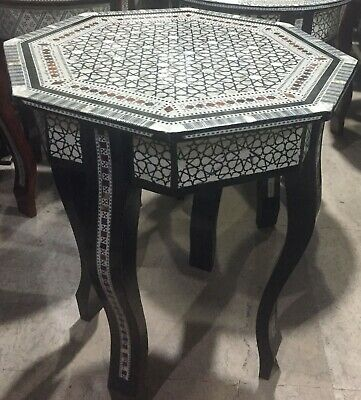 Amazing Moroccan Hand Made 8 sides Mother of Pearl Mosaic Inlay Wood Tea Table