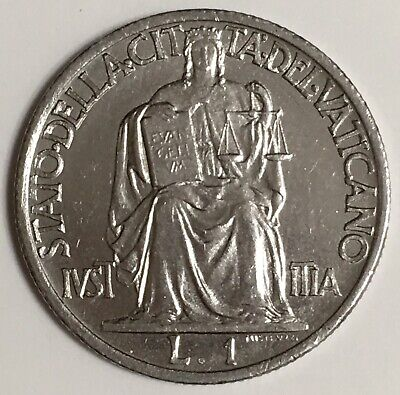 1942 Gem Unc~Justice Seated With Tablets Of Law~Fr//Sh Vatican City 20 Centesimi