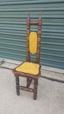 Childrens Antique Jacobean Style Prayer Chair Narrow High Back Hall Chair Gothic