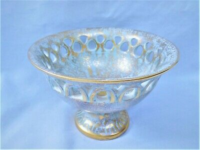 Vintage Stangl Art Pottery Mid-Century Footed Candy Dish Antique Gold/Aqua