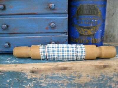 Primitive Antique Child Size Wood Rolling Pin w Early Blue Homespun Free Ship