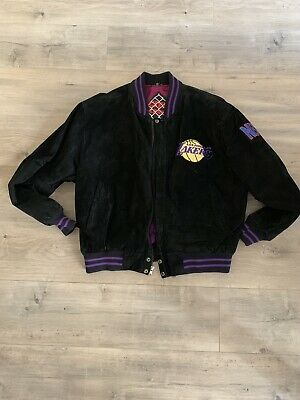 NBA Los Angeles Lakers Mens Leather Jacket L Suede VTG 80s One of a Kind EUC