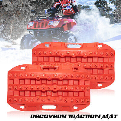 2PCS Recovery Traction Tracks Boards for Sand Mud Snow Track Tire Ladder Red