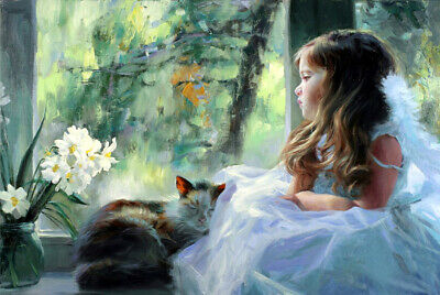 Girl and cat by the window oil painting HD Giclee Art Printed on canvas L2648