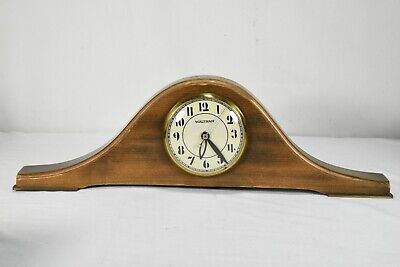 Antique Vintage Waltham Automatic Mantel Clock Electric Wood Brown 18 x 5.5