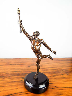 Vintage 1930s Bronze Sculpture Olympic Style Runner Torch Bearer Athletic Figure